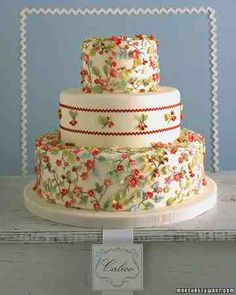A two-dimensional calico print comes to life on a cake with diminutive hand-sculpted flowers, leaves, and fruits; the soft colors are reminiscent of the faded look of a vintage apron. Real rickrack trim, bordering clusters of fruit on the middle tier, imparts a cheery, homespun feel. Set against ivory fondant, strawberries and cherries grow from stems of piped royal icing, tinted brown. The fruits are shaped from sugar paste painted in delicate shadings and hues. Rickrack trim is secured…