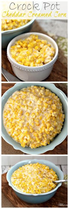 Crock Pot Cheddar Creamed Corn Recipe ~ The perfect easy side dish for your main dish! Throw it in the Crock Pot and forget it!