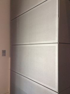 PHOTO These perforated metal panels in the National Gallery of Victoria would provide practical acoustic insulation. Perforated Metal Panel, Metal Panels, Top Freezer Refrigerator, Wall Treatments, Insulation, Kitchen Appliances, Victoria, Detail, Gallery