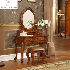 Stunning Gorgeous Antique European Style American Country Solid Wood Carved Vanity Set