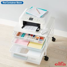Available only at The Container Store, our exclusive White Elfa Mesh Rolling Cart with Drawers creates instant storage almost anywhere from a dorm room to the office! Use it to elevate a mini fridge, create a printing station or organize folded clothes. It features two 1-Runner Mesh Drawers and one 2-Runner Mesh Drawer. The tight mesh and closed corners of the drawers prevent smaller items from falling through. The Melamine Top and four heavy-duty casters support most mini fridges and…