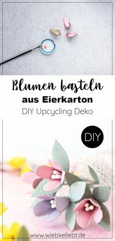 Frühlingshafte Upcycling Idee. Blumen aus Eierkarton basteln. Upcycling Bastelidee für und mit Kinder. Mit Eierkarton kreativ werden und Blumen basteln. Weitere Ideen, Inspirationen und Anleitungen findest du auf Wiebke liebt. #blumen #bastelnmitkindern #frühling #diydeko #selbstgemacht #upcycling Diy Recycling, Diy Blog, Origami, Place Cards, Diy Projects, Place Card Holders, Paper Mill, Egg Box Craft, Diys