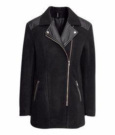 Biker-style Jacket $59.95 DESCRIPTION Short biker-style jacket in woven fabric (black melange in a wool blend) with imitation leather detail...