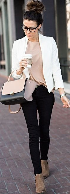 #september #trending #outfits | Black and White + Nudes