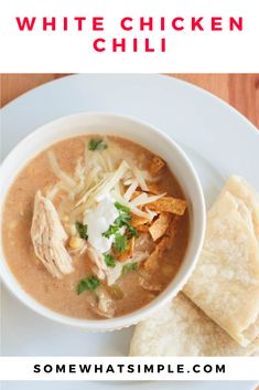 Slow Cooker White Chicken Chili Recipe, Crock Pot Slow Cooker, Crock Pot Cooking, Slow Cooker Recipes, Crockpot Recipes, Soup Recipes, Chicken Recipes, Healthy Recipes, Healthy Food