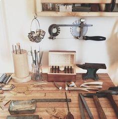 Another Feather - Hannah Ferrara Workshop Bench, Workshop Studio, Studio Setup, Dream Studio, Home Studio, Studio Spaces, Studio Organization, Ikea, Workspaces