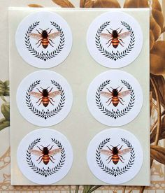 Stickers Bee Wreath Vintage Style Envelope Seals by bljgraves, $5.00