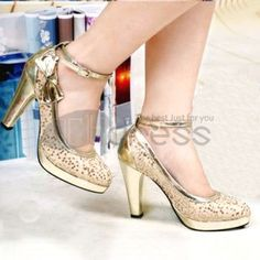 Gold sequined bow bride wedding shoes