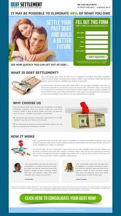 Debt relief landing page design inspiration reduce debt or debt settlement that converts visitor into customer   landing page design conversion
