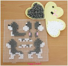 Dog perler beads by Peggy Wu… Melty Bead Patterns, Pearler Bead Patterns, Hama Beads Patterns, Beading Patterns, Perler Bead Designs, Hama Beads Design, 3d Perler Bead, Diy Perler Beads, Iron Beads