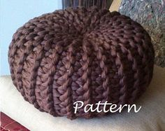 KNITTING PATTERN Knitted Pouf Pattern Poof Knitting Ottoman Footstool Home Decor Pillow Bean Bag, Pouffe, Floor cushion Medium and Large *