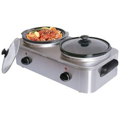 Maxam® 5qt (4.73L) Stainless Steel Two Serving Slow Cooker