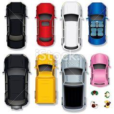 Top View Abstract Cars Ilustraciones vectoriales sin derechos de autor