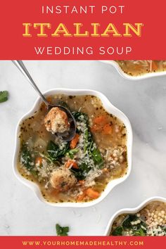 Instant pot Italian wedding soup is a warm and comforting soup for any occasion! It's quick, easy, and packed full of healthy ingredients. Serve it as a family dinner, quick and healthy lunch, or simple appetizer. Made with lots of vegetables, tender and juicy chicken meatballs, and clear chicken broth, this soup is as good for you as it is delicious! Store any extra in your freezer, and you'll be so happy to have a healing, healthy meal year round! Healthy Soup Recipes, Healthy Snacks, Ground Chicken Recipes, Wedding Soup, Chicken Meatballs, Asian Cooking, Main Meals, Soups And Stews, Freezer