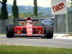 Jean Alesi in a Ferrari at the 1991 San Marino Grand Prix.