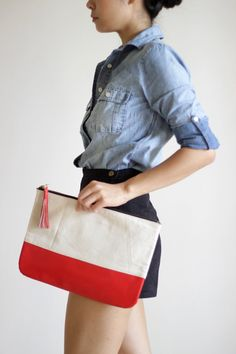 GRANDE Medium Canvas and Patent Leather Carry-all by VellePurse