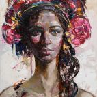 Flowers in her hair - Original oil girl portrait painting - Image 0