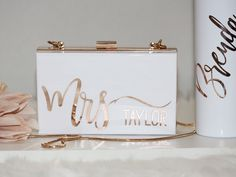 Personalized Acrylic Bridal Clutch for Mrs Bride Bridesmaid Maid of Honor Gift Bachelorette Party Favors Honeymoon Bag Going out Maid Of Honour Gifts, Maid Of Honor, Bridesmaid Bags, All White Wedding, Bridal Clutch, Bachelorette Party Favors, Bridal Gifts, Bridal Parties, Lettering