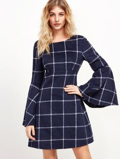 Navy Grid High Waist V Back Bell Sleeve Dress