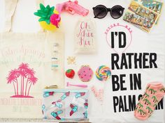 Checkout this adorable Palm Springs bachelorette + the goodies they stuffed within our tote + favor bags! #palmspringsbeforetherings #palmspringsbachelorette #bacheloretteparty