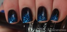 Black to blue glitter nails