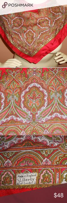 Liberty of London Scarf Paisley Red Silk Designer UP FOR SALE IS AN AUTHENTIC LIBERTY OF LONDON SCARF. IT IS 100% SILK AND IS IN EXCELLENT CONDITION. MEASUREMENTS: 27 X 25 PLEASE MESSAGE ME WITH ANY QUESTIONS YOU MAY HAVE. MAKE ME A REASONABLE OFFER!   Bundle Up 3 Items And Recieve 20% Off Your Final Purchase. Accessories Scarves & Wraps
