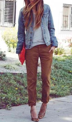 relaxed, folded up chinos and heels with pop