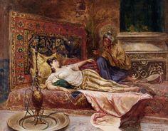 Reclining Odalisque :: Ferencz-Franz Eisenhut - Arab women ( Harem Life scenes ) in art  and painting