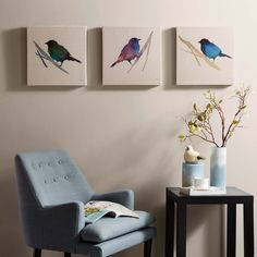 Branch & Flight is a lovely set that is printed on linen canvas with a light layer of gel.  This three piece set will complement your home with the beautiful vibrant watercolors.  Artist: Megan Swartz
