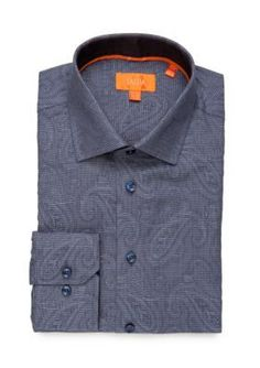 Tallia Orange Blue Slim Fit Dress Shirt