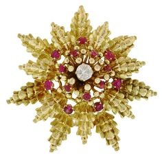 DAVID WEBB BROOCHES   DAVID WEBB '60's Stylized Diamond and Ruby 18K Gold Brooch at 1stdibs
