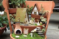 Up-cycle your broken flower pots into unique fairy gardens----- here's a way that you can take your old and broken planters and turn them into---- something amazing. Miniature Fairy Gardens, Gingerbread, Picnic, Picnics, Square Foot Gardening