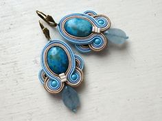 Soutache earrings BEIGE-BLUE Agate Boho Glamour! de Soutache4You por DaWanda.com
