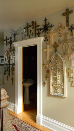 Wall of crosses - http://www.lafuente.com/Mexican-Decor/Handmade-Crosses/