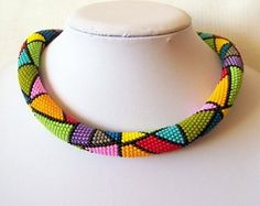 Bead crochet rope necklace by Lutita  on Etsy