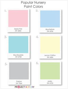 Popular SW Nursery paint colors. I love these! Definitely leaning towards turquoise walls right now for either gender...maybe a pale celery ceiling...or pink, if we find out it's a girl for sure. I just don't want anything the bean will grow out of too quickly.