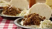 Bourbon-Mango Pulled Pork. Im go to try it with chicken instead, not a pork fan.