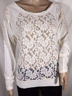 NWT Miss Me Sheer Lace Beige Long Sleeve Embellished Size S, L #MissMe #Blouse