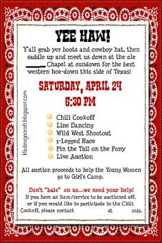 SCHOOL fundraising - Yee Haw day invitation. Sounds like a fun fundraising event!!!