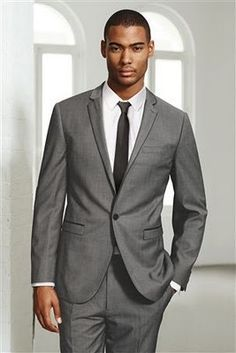 Grey suit. White shirt. Black tie. | Suits | Pinterest | Grey ...