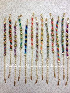 Diagonal Studded Friendship Bracelets by KaringIsShering on Etsy, $18.00