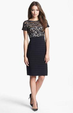 Adrianna Papell Mixed Media Sheath Dress available at #Nordstrom $158
