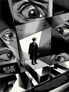 "Mondo posters: Samuel Beckett's ""Film"" starring Buster Keaton by the Delicious Design League. Poster Series, New Poster, Ex Machina, Eye Art, Classic Films, Grafik Design, Fantasy Art, Poster Prints, Art Posters"