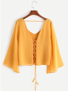 Shop Kimono Sleeve Criss Cross Lace-Up Blouse online. SheIn offers Kimono Sleeve Criss Cross Lace-Up Blouse & more to fit your fashionable needs. Hijab Fashion, Fashion Clothes, Girl Fashion, Fashion Outfits, Fashion Black, Fashion Ideas, Umgestaltete Shirts, Shirt Blouses, Pretty Outfits