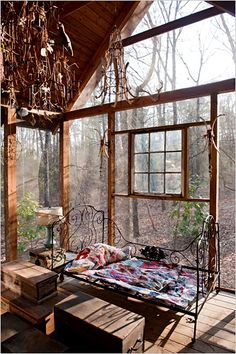 Screened porch on a cabin made from recycled heartwood from an old mill, by Butch Anthony.  The cabin is for his family to stay in during the annual Alabama Doo-Nanny Festival  :-)  http://doo-nanny.com/