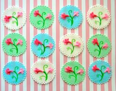 For mother's day, cupcakes, fondant, toppers, floral, bridal, wedding shower, baby shower