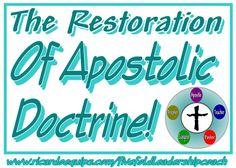 Restoration of Apostolic Doctrine By Apostle Ricardo Butler I want to start this short message with a foreshadow or typification from the Old Covenant. I want you to journey with me and see if you …