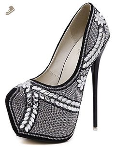 IDIFU Women's Dressy Rhinestone High Spikes Stiletto Heels Platform Low Top Slip On Pumps Shoes Black 4 B(M) US - Idifu pumps for women (*Amazon Partner-Link)