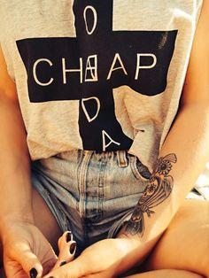 Tattoo, levis, cheap monday, candy skull and an owl Candy Skulls, Cheap Monday, Rock Revival, Levis, Owl, Tattoos, T Shirt, Women, Supreme T Shirt