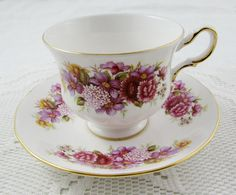 Queen Anne Tea Cup and Saucer with Pink and Purple Flowers